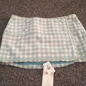 Abercrombie green tweed houndstooth skirt